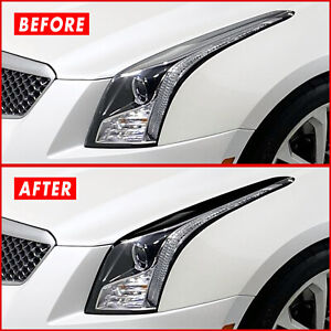 FOR 13-19 Cadillac ATS Headlight Eyelid GLOSS BLACK Precut Vinyl Overlays