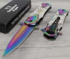 TAC-FORCE SNAKE EYE MOP Pearl Rainbow Tactical Spear Point Spring Assisted Knife