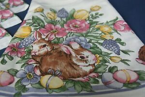 "Easter Bunny 70"" Round Tablecloth & 4 Napkins White With Brown Rabbits"