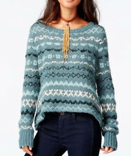 Free People OB463688 Through The Strom Sweater Sea Blue Combo M $128