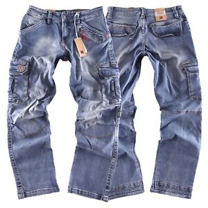 Timezone Herren Cargo Jeans Hose Benito TZ 3300  white used wash NEW