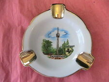 *RARE VINTAGE TRIANGLE PORCELAIN STUTTGART souvenir ASHTRAY~DISH~gold Trims