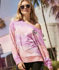Vs Victorias Secret Pink Raw Cut Legging Crew Sweater Jacket Top Tie Dye M