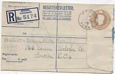 * 1948 BROUGH YORKS REGISTERED ENVELOPE RP64 SIZE F BLUE PAPER INSIDE  RARE TYPE