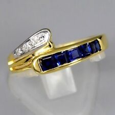 ELEGANT! 0.75ct t.w Natural Royal Blue SAPPHIRE Ring With DIAMOND 14K Solid Gold