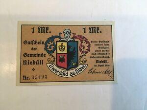 Niebull Notgeld 1 Mark 1920 Emergency Money Gutschein der Gemeinde