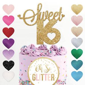 Sweet sixteen cake topper, 16 cake topper, glitter topper, sweet 16 party, 16