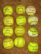 "New listing Lot of 12 used 12"" softballs Various brands - Spirit One dozen yellow softballs"