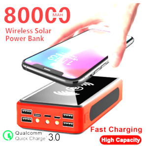 80000mAh Wireless Solar Power Bank External Battery PoverBank With Free Shipping