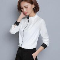 New Elegant Korean Womens Ladies White Shirt Slim Career Long Sleeve Blouse Tops