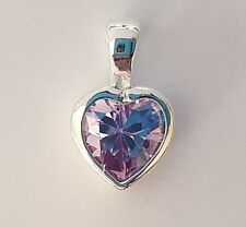 NEW Genuine Solid 925 Sterling Silver Lilac Cubic Zirconia Ladies Heart Pendant