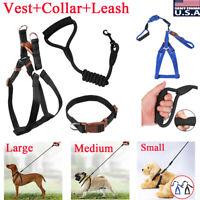 Adjustable Dog Pet Vest Harness+Leash Rope+Collar Nylon Walking Puppy Strap S-L