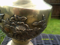 japanese edo period brass vase, nice decoration with birds and blossom