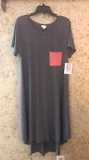 LuLaRoe CARLY Dress NWT Solid GRAY Grey Pink Pocket NEW UNICORN Large L