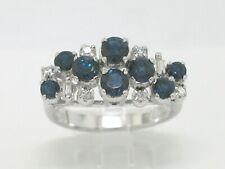 Juwelen Saphir Ring 585 Weißgold 14Kt Gold 8 blaue Saphire   8 Diamanten