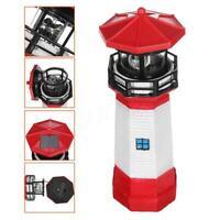 LED Solar Leuchtturm 30 cm Garten Leuchtfeuer Rot Weiß Beleuchtung 360°Drehung