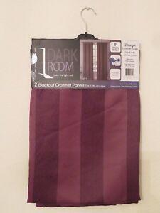 "New Dark Room 2 Blackout Grommet Panels Curtain 76""x 84'' Olsen Stripe Chocolate"