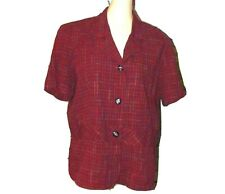 MISS DORBY Red Short Sleeve Button Down Career Blouse Topper size 12