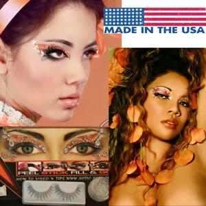 Coral/Peach Glitter Costume Eye Easy Makeup Sticker Rhinestones Crystals+Lashes