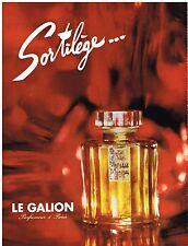 PUBLICITE ADVERTISING  1963   LE GALION  parfum SORTILEGE