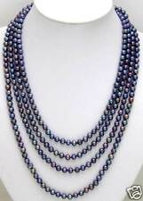 """SALE Long 80"""" Black 6-7mm natural FreshWater round PEARL necklace-nec5449"""