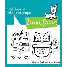 NEW LAWN FAWN WINTER OWL CLEAR ACRLYIC STAMP
