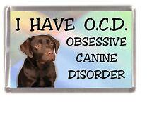 """Labrador Retriever (Chocolate) Dog Fridge Magnet """"I HAVE O.C.D.""""  by Starprint"""