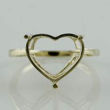 Semi Mount Heart Shape 12.00 MM Exotic Love Ring 10k Yellow Gold Wedding Jewelry