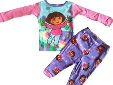 DORA Explorer Baby Toddler Girls Pajama Set Size 9-12M 100% Cotton Pink Purple
