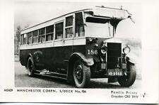 Pamlin repro photo postcard M2429 Manchester Corporation Crossley s/deck bus 186