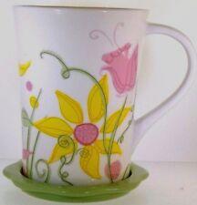 2006 Pink & Yellow Foral Starbucks Coaster Lid Coffee Mug 13 Ounce