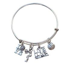 Volleyball Bracelet- Girls Volleyball Jewelry - Volleyball Charm Bangle