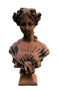 French Bust terracotta stoneware female Bust Lady garden statue .