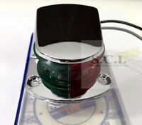 MARINE BOAT CHROME PLATED COMBINATION BOW NAVIGATION LIGHT GREEN AND RED