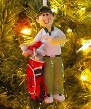 Male Golfer PGA Golf Bag Sports Ornament Personalized Christmas Ornaments