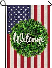 Mogarden Welcome American Garden Flag, 12.5 x 18 Inch, 4th of July Usa Yard Flag