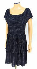 WHITE HOUSE BLACK MARKET Flamenco Dress MEDIUM Polkadot Ruffles Tiered WHBM