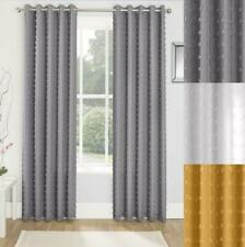 1 Pair Of ARUBA Pom Pom Textured Fully Lined Voiles Eyelet Ready Made Curtains