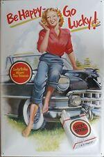 Lucky Strike - Go happy be lucky - Blechschild 40x60cm Zigaretten Pin Up Tabak