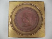 French Gentleman Bust Portait Relief Medallion Stamped NINI Gold Gilt Wood Frame