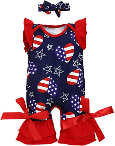 Baby Girls 4th of July Clothes American Flag Romper Pants Headband Infant Outfit