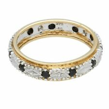 9Carat Yellow & White Gold Sapphire & Diamond Full Eternity Band (Size P 1/2)