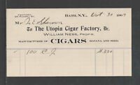 1903 UTOPIA CIGAR FACTORY { MFG'S of HAVANA and SEED CIGARS } BATH NY BILLHEAD