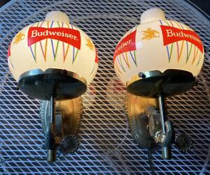 VINTAGE BUDWEISER BEER ANHEUSER BAR LIGHTS LAMPS WALL SCONCES GLOBES Must Read!!