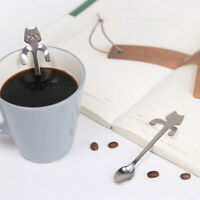 Cute Stainless Steel Cat Coffee Drink Spoon Tableware Kitchen Tool Hanging cups