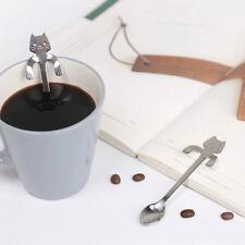 Cute Stainless Steel Cat Coffee Drink Spoon Tableware Kitchen Tool Hanging cups