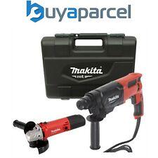 Makita Sds 240v + 3 modo Furadeira De Impacto 26mm E Moedor de ângulo M9502R 115mm
