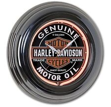 "Harley-Davidson® Oil Can Red Neon Gun Metal Round Wall Clock | 14.25"" HDL-16617"