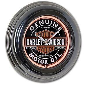 "Harley-Davidson 14.25"" Oil Can Red Neon Gun Metal Round Wall Clock  HDL-16617"