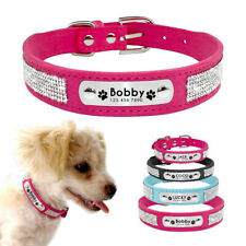 Bling Personalized Dog Collar Soft Suede Rhinestone Collar Dog Name ID Engraved